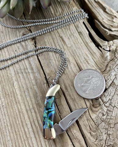 Abalone Rough Rider Knife Necklace, Ryder