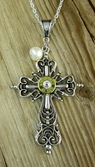 Elegant Cross and Pearl Bullet Necklace