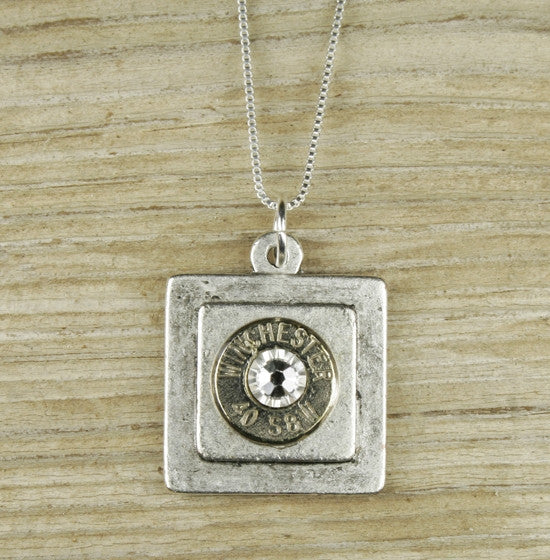 Antiqued Silver Plated Square Bullet Necklace