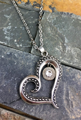 Custom Valentine's Art Deco Heart Bullet Necklace 9mm Nickel