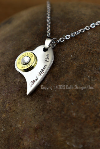 Best Mom Ever Engraved Heart Bullet Necklace- DARK Engraving