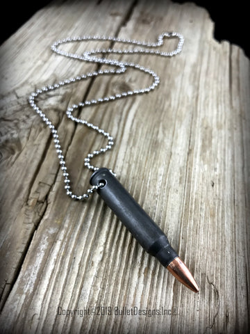 223, M4, AR15 Gray Steel Bullet Necklace, Custom Necklace, Grey, Drilled, Stainless Steel Ball Chain Silver