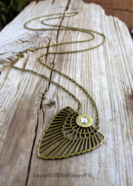 Bohemian Bullet Necklace, Bronze Boho, Antique Brass Wing
