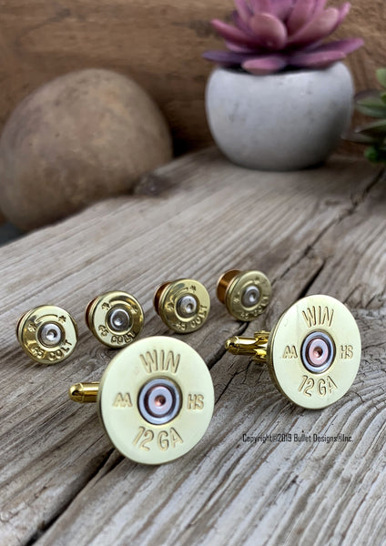 Bullet Tuxedo Studs and Shotgun Cufflinks set BRASS, 12 or 20 Gauge Shotgun Shell Cufflinks, Bullet Tuxedo Studs, Wedding, Groom, Groomsmen