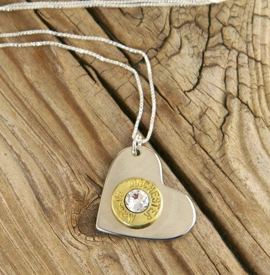 "Brass Bullet Nickel Heart Sterling Necklace - 20"" Chain"