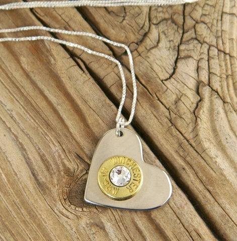 Brass Bullet Nickel Heart Sterling Necklace  ***NEXT AVAILABLE SHIPPING DATE FOR THIS PRODUCT IS THE WEEK OF MARCH 5
