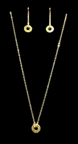 40 Caliber Infinity Bullet Earring and Necklace Gift Set, Gold Filled Chain