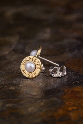 Brass Pearl Stud Earrings
