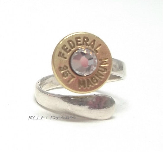 Sterling Silver Wrap Around Adjustable Bullet Ring  Bullet Jewelry