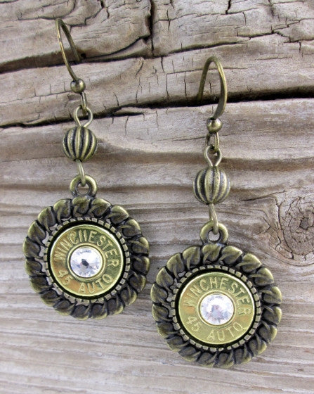 Bronze 45 Auto Medallion Bullet Earrings