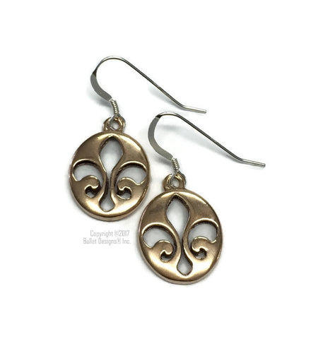 Bronze Oval Fleur de Lis Dangle Earrings, Sterling Silver Earwires