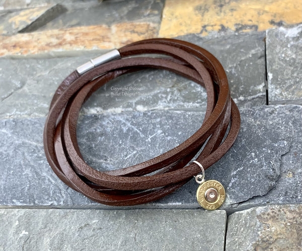 Bullet Charm Leather Wrap Bracelet