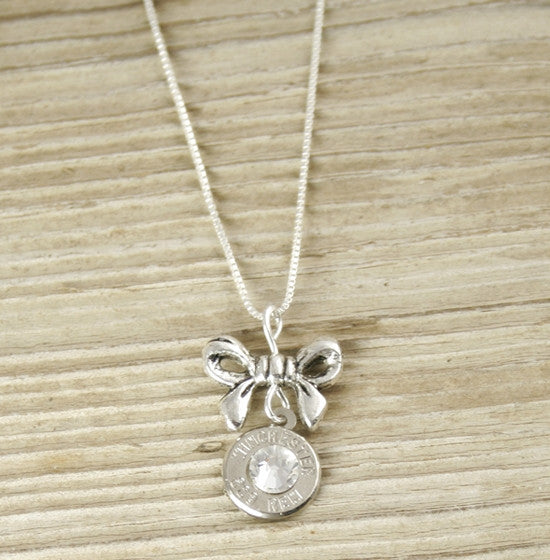 Bullet & Bow Charm Sterling Necklace