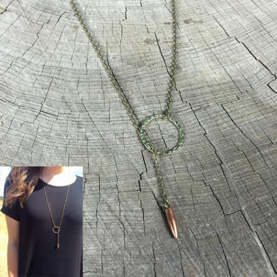 Bullet Bullseye Lariat Necklace Bullet Jewelry
