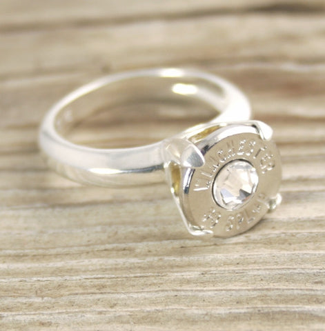 38 Special Bullet Ring Sterling Silver Cathedral Engagement