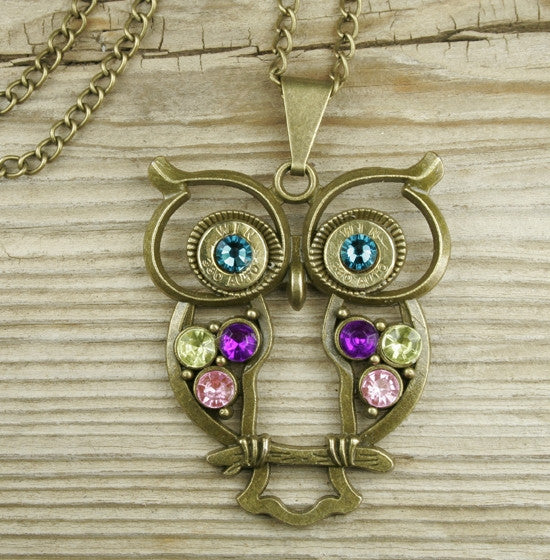Colorful Bronze Owl Brass Bullet Necklace