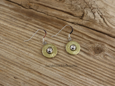 Custom Engraved Simply Dangle Colt 45 Brass Bullet Earrings