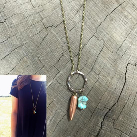 Copper Turquoise Bullet Necklace  ***NEXT AVAILABLE SHIPPING DATE FOR THIS PRODUCT IS THE WEEK OF MARCH 5