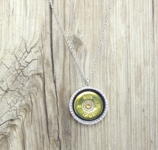 Crystal Floating Locket Bullet Necklace