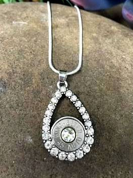 Nickel Crystal Teardrop Bullet Necklace