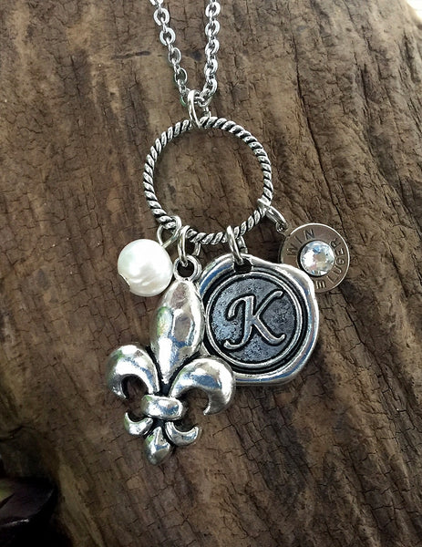 Personalized 9mm Bullet Initial Charm Necklace