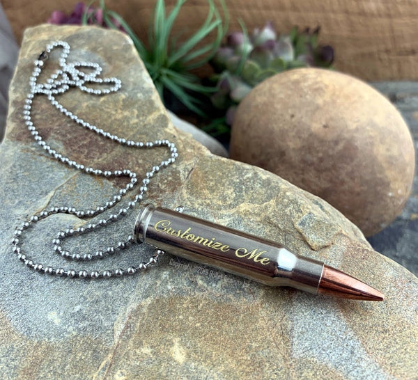 Engraved Nickel Bullet Necklace, Gold Engraving, 308, 223, Ar-15, Custom