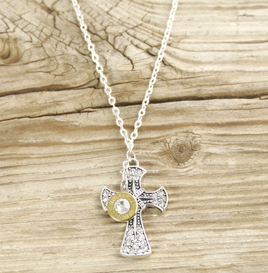 Dangle Bullet & Cross Necklace