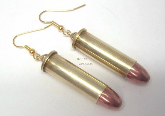 Dangle Bullet Head & Casing Earrings