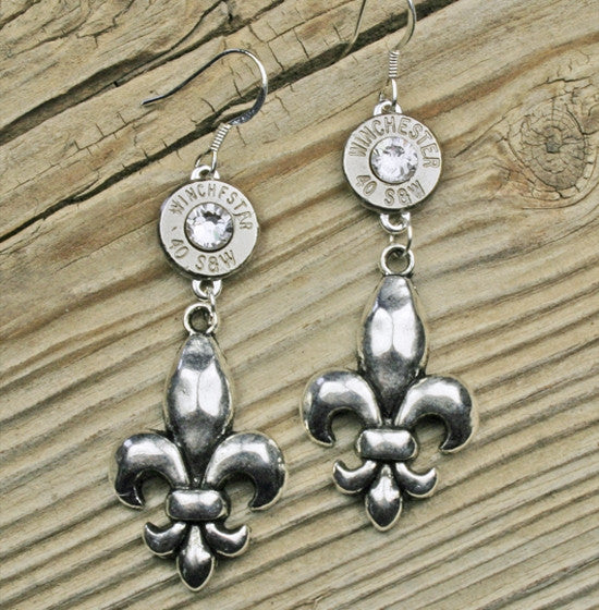 Dangling Fleur de Lis Bullet Earrings