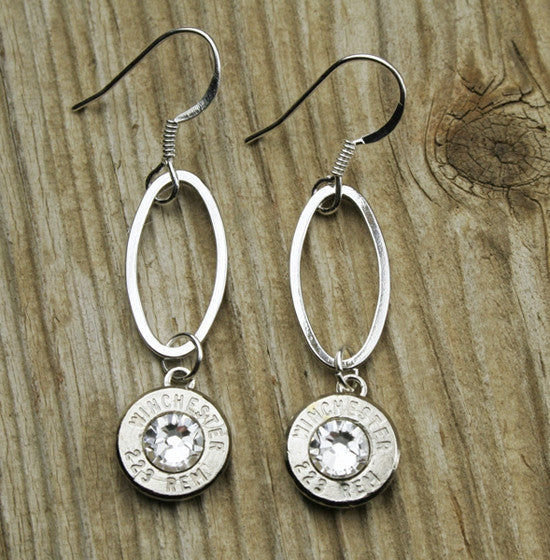 Dangling Oval Bullet Earrings