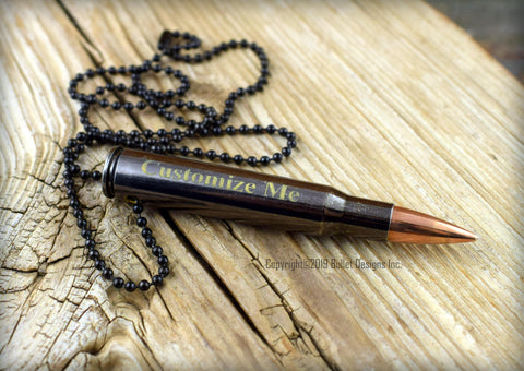 Gold Engraved Black 30-06 Bullet Necklace, GOLD Engraving, 30-06 BLACK BULLET, Black Ball Chain