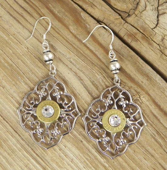 Diamond Netted Flower Bullet Earrings
