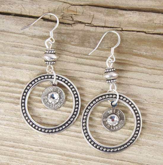 Dotted Circle Bullet Earrings