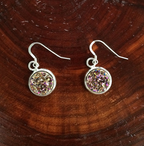Pink Druzy Dangle Earrings