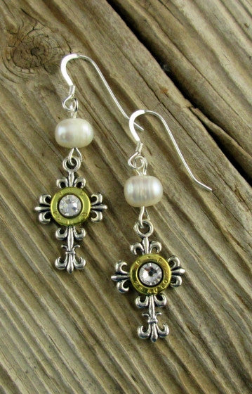 Elegant Cross Pearl Dangle Earrings
