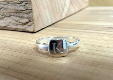 .925 Sterling Silver Engraved Initial Ring