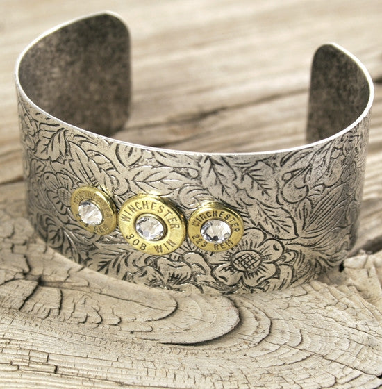 Etched Bullet Cuff Bracelet  Bullet Jewelry