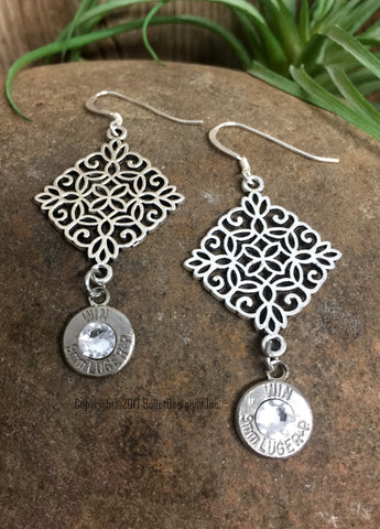 Filigree Dangle Nickel Bullet Earrings