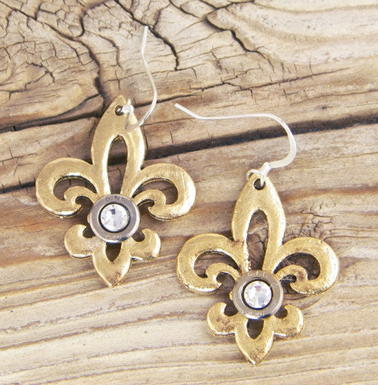 Gold Hammered Fleur de Lis Earrings