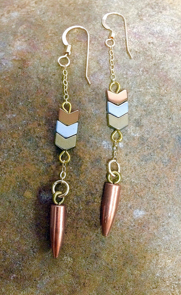 Golden Arrow Bullet Earrings