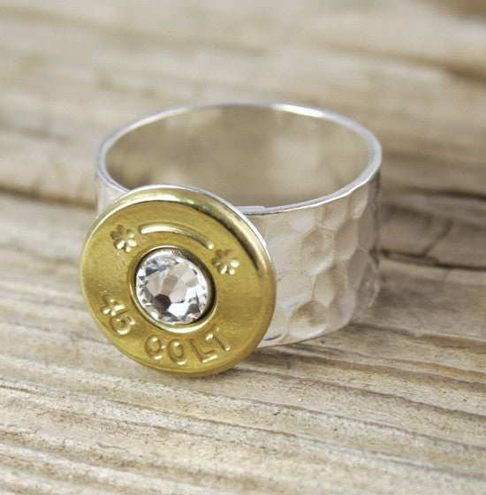 Bullet Ring Colt 45 Custom Hammered