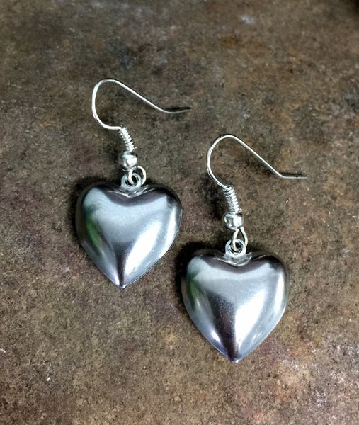 Puffy Heart Earrings Silver Stainless Steel