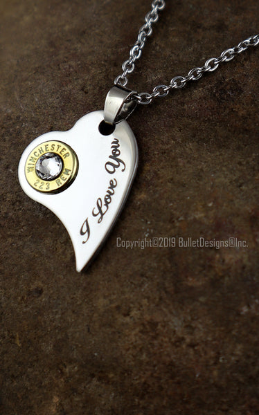 I Love You Engraved Heart Bullet Necklace- DARK Engraving