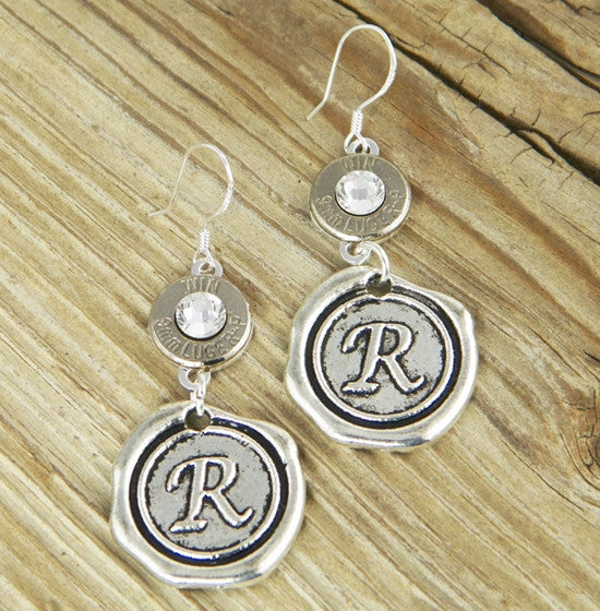 Initial & Bullet Monogram Earrings