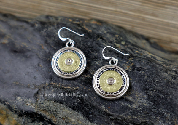 Bullet Earrings, Bullseye Rope Border Hornady 338 Lapua Mag Brass Bullet Earrings, Lapua Earrings