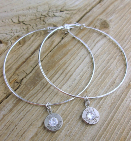 Large Bullet Hoop Earrings
