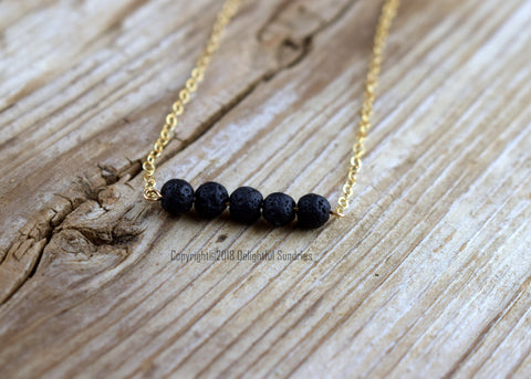 Black Lava Beads Bar Necklace, Gold Filled, Essential Oil Diffuser Jewelery