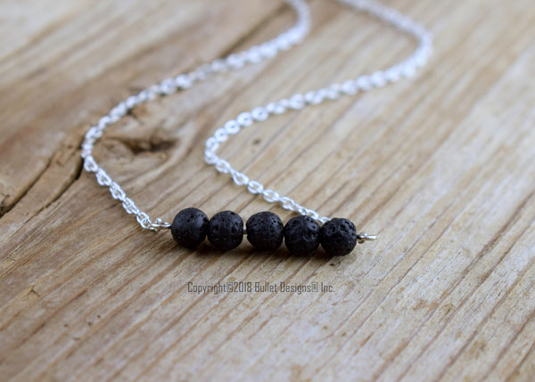 Black Lava Beads Bar Necklace, Sterling Silver, Essential Oil Diffuser Jewelery