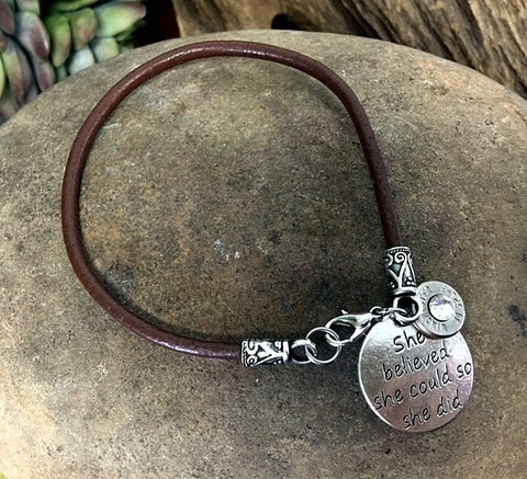 "38 Special Leather Bullet Charm Bracelet - ""She Believed She Could So She Did"""