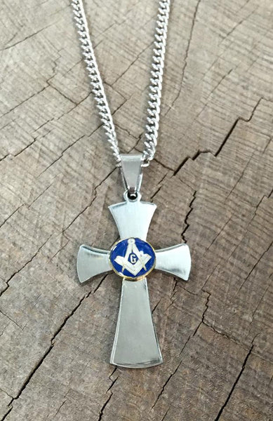 Masonic Lodge Stainless Steel Cross Necklace